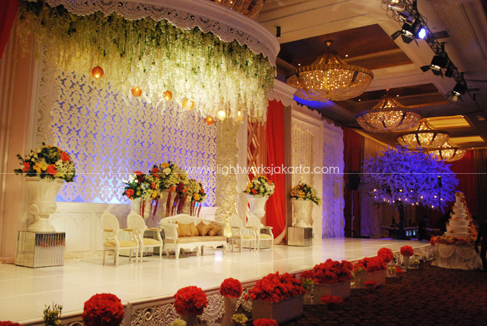 Indrawan and Syella Wedding ; Decoration by Lavender Decoration ; Located in Grand Ballroom Hotel Mulia ; Lighting by Lightworks
