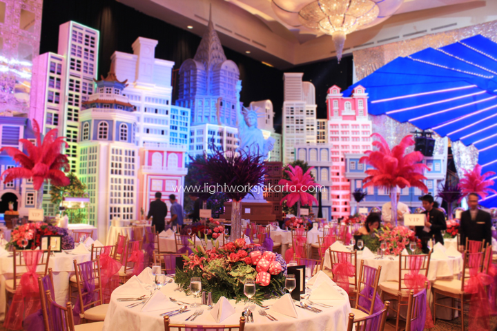 Mr. 's Birthday; Suryanto Decor ; Located in Ritz-Carlton Pacific Place Grand Ballroom ; Lighting by Lightworks