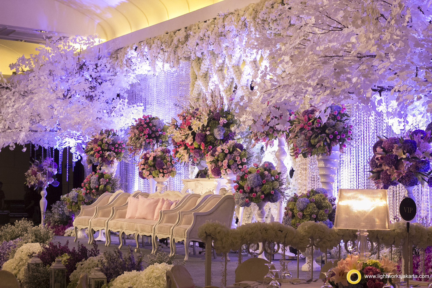 Dharma and Cana's Wedding Reception; Venue at Intercontinental Hotel; Decoration by Lotus Decoration; Wedding Cake by Cream and Lace; Lighting by Lightworks
