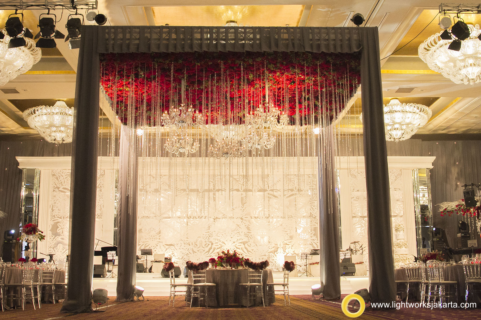 Silver Wedding Anniversary of Martias and Silvia; Venue at Mulia Hotel; Organized by Multi Kreasi Enterprise (MKE); Decoration by Nefi Decor; Lighting by Lightworks