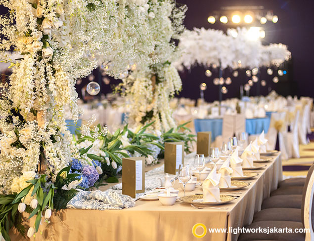 Jonathan and Cindy's Wedding Reception | Venue at Raffles Jakarta | Organised by The DayZ Wedding Planner | Photo by Vow Pictures | Video by Wimo Production | Gown and Make Up by Ivory Bridal Jakarta | Suit by Sas Tailor | Cake by Gordon Blue Wedding | Decoration by Steve Decor | Lighting by Lightworks