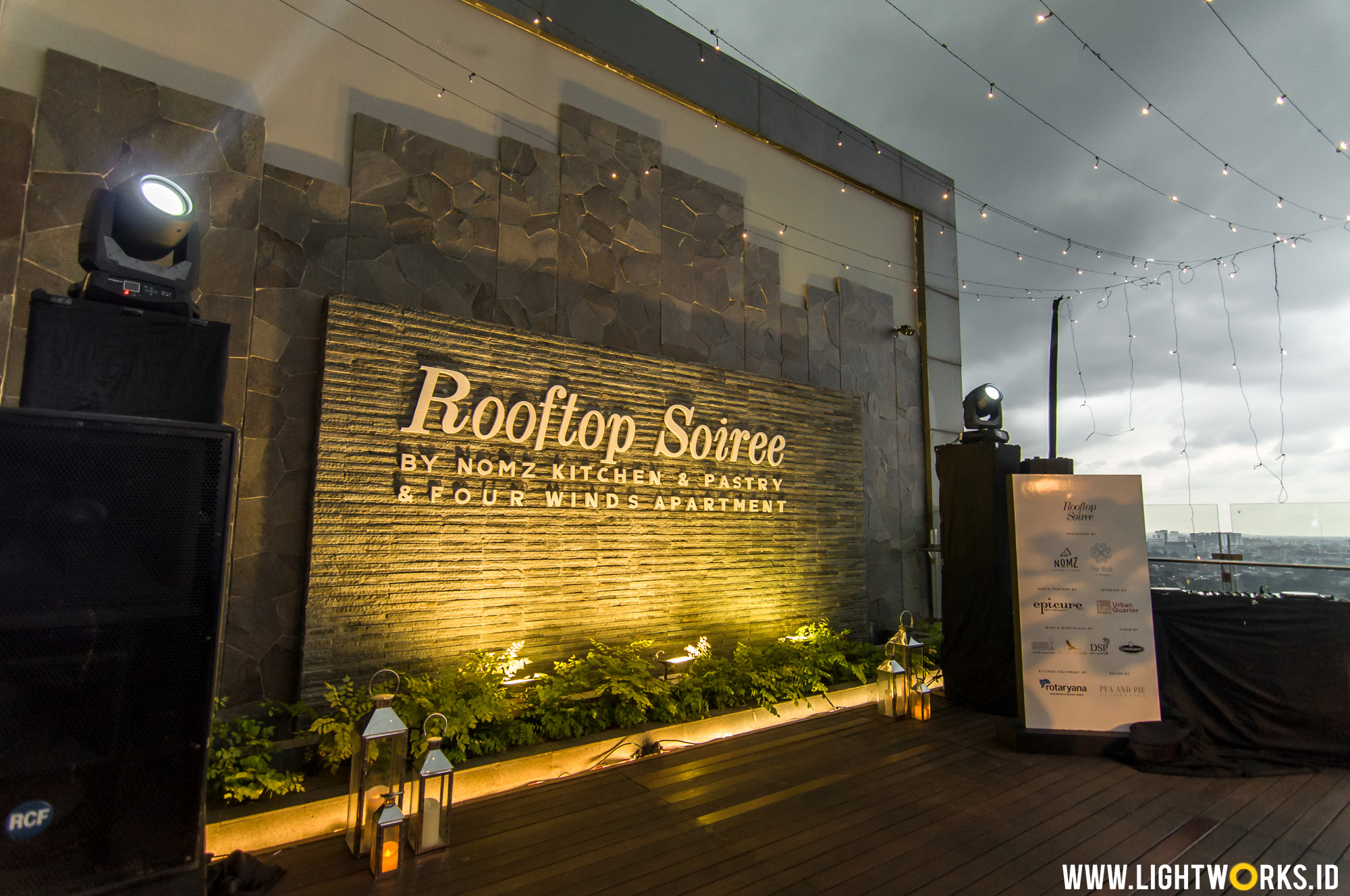 Rooftop Soiree | Venue at Four Winds Apartment | Decoration by Pea and Pie | Partner up with Nomzjakarta | MC by Dave Hendrik | Interior by Urban Quarter Indonesia | Media partner by Epicure Magezine Asia | Wolfblass wine by DSP Wine & Spirits | Glassess by Riedel Indonesia | Kitchen Equipment by Rotaryana Prima | Cider by Strongbow Indonesia | Supported by RINKU | Lighting by Lightworks