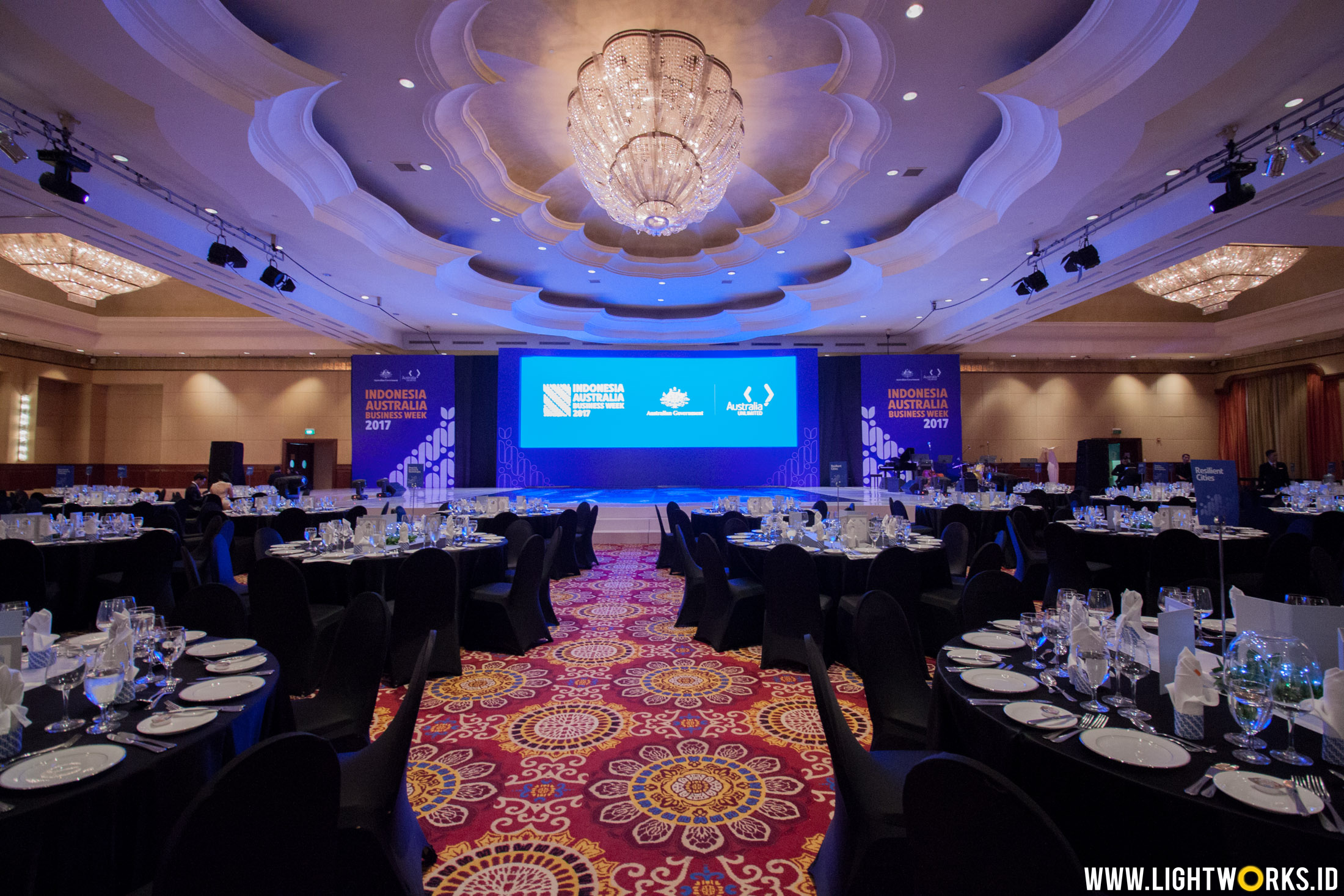 Indonesia Australia Business Week 2017 | Venue at The Ritz-Carlton Mega Kuningan | Sound system by Soundworks Jakarta | Lighting by Lightworks