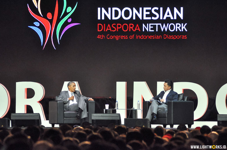 Indonesian Diaspora Network 4th Congress of Indonesian Diasporas | Venue at The Kasablanka | Speakers and performer by Anggun, Maudy Ayunda, Ridwan Kamil, Barack Obama, Reza Rahadian, Tommy Tjokro, Helmi Johannes, Rosiana Silalahi, Hamdan Hamedan, Said Zaidansyah, Charles A. Taylor, Ira Damayanti, Meutya Hafid | Sound system by Soundworks | Lighting coordinator by Steffi Indrajana | Lighting designer by Rifyalka and Natan Budiman | Lighting by Lightworks